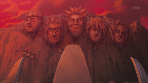 Kishi loves symbolism.  This one is a very powerful one - Hokages surrounded by the blood red sky