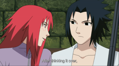 "Ok, Sasuke.  Sakura wasn't your type.  Don't tell me that ""bitch fatale"" is now your type?"
