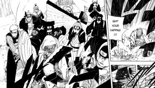 "Geez!  Can anyone say ""FOOD FIGHT!""  Note that the only cool head in the room is Gaara, the Godaime Kazekage"