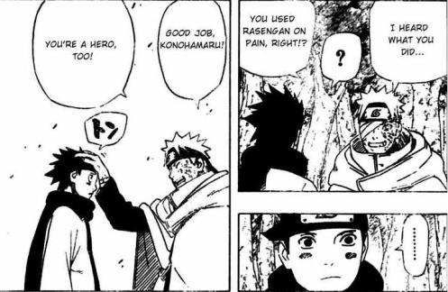 Note Naruto's mussing up of Konohamaru's hair.  Remember Yondaime Hokage and Naruto???  Definitely Master and pupil!