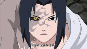 A partially transformed Sasuke.  Tell me, would you mess with this guy?