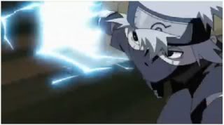 His first chidori - a move that is now one of Kakashi's favorites.  Note the lack of Sharingan...