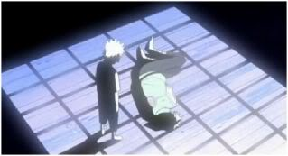 A young boy finds his now-dead father...no wonder Kakashi is hellbent on rules.  Sad...