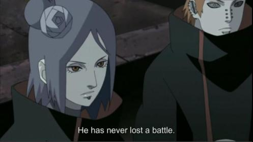 Yeah, yeah.  Tell us more, Konan.  Wait!  Why isn't Pain defending his battle record himself?  Hmmm...