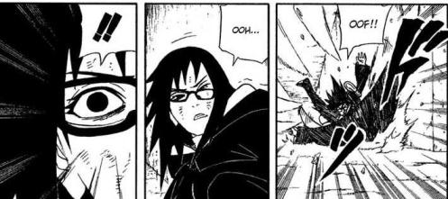Sasuke, that is NO way to treat a lady - especially the one you find handy at the moment.