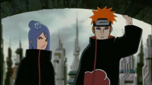 We've seen you in teleportation mode.  Now, here you are:  Pain and Konan.  Get to know these faces as we are going to see A LOT more of them.