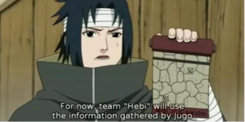 Juugo has been busy and providing useful information to Sasuke.  Now, they decide to use it.