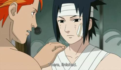 Ever devoted to his leader, Juugo attends to Sasuke's wounds with kindness.