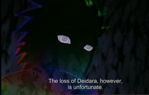 Ok, Pain.  What gives?  You mourn the loss of Deidara while Tobi gets a passing mention?  Is there something more to this?